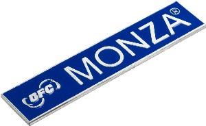 Targhetta in alluminio misura 125x25 mm fondo smalto blu con 2 perni filettati nel retro  Engravings